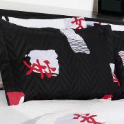 Kit: 1 Cobre-leito Solteiro + 1 Porta-travesseiro 150 fios 100% Algodão - Asiático Preto e Branco - Kacyumara