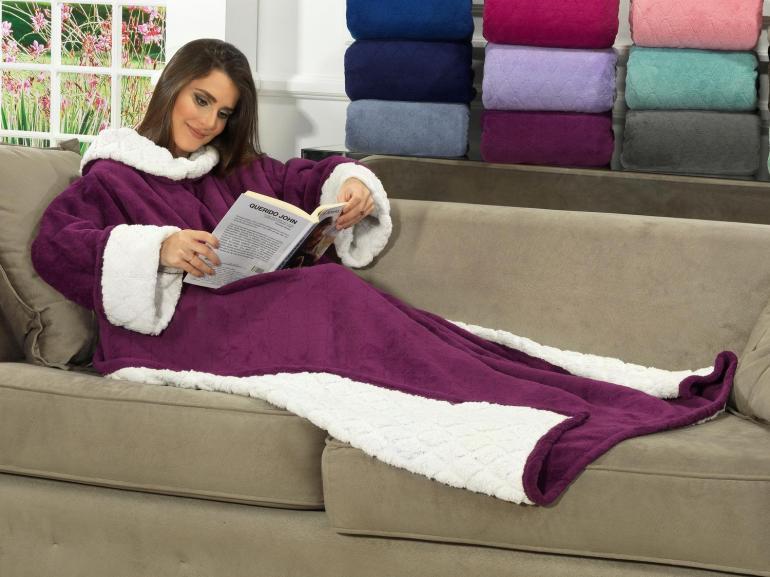 Cobertor com mangas de sof avulso com efeito pele de - Cobertor para sofa ...